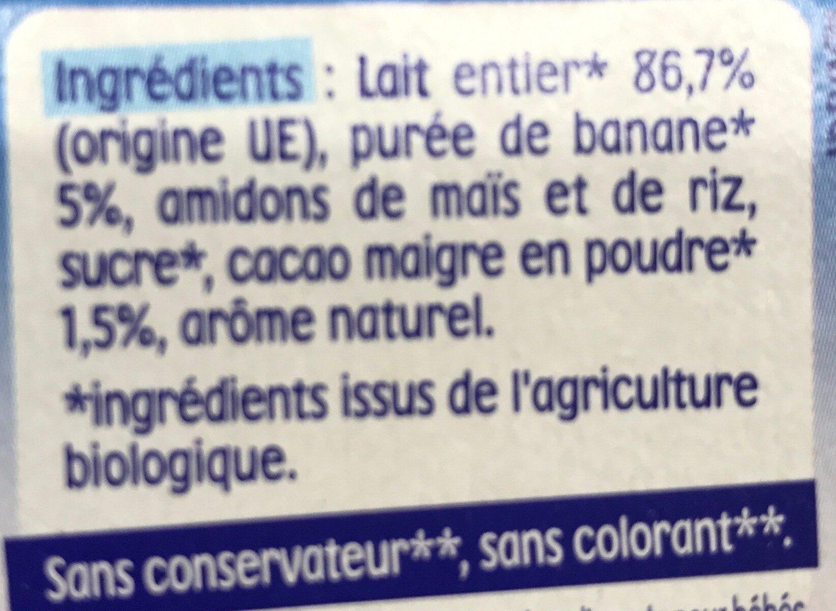 Nestlé p'tit gourmand banane cacao - Ingrédients - fr