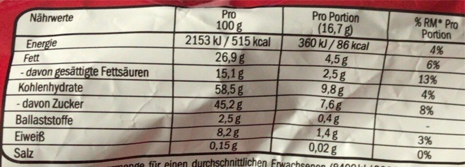 Kitkat - Nutrition facts - de