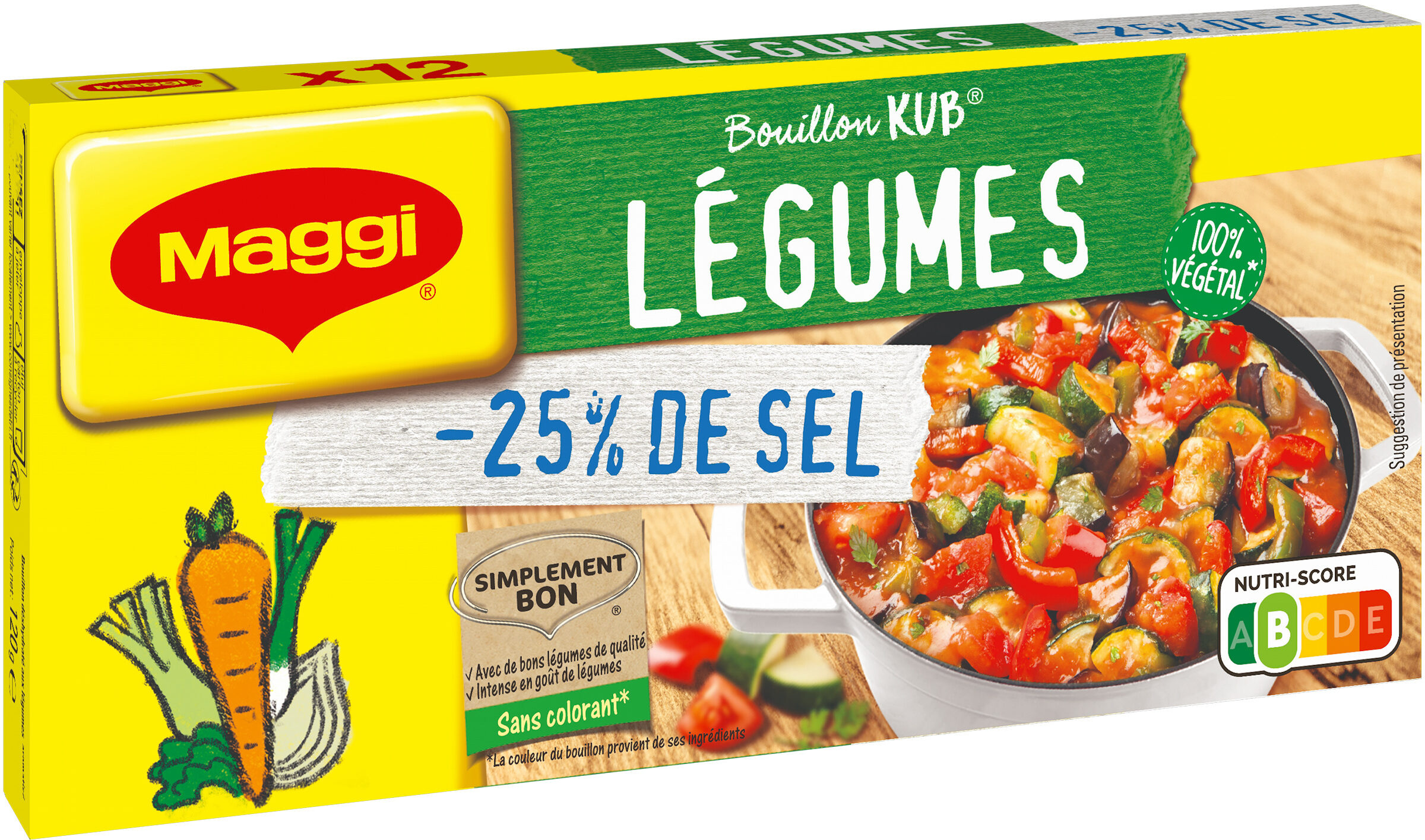 MAGGI Bouillon KUB Légumes Sel Réduit - Product - fr