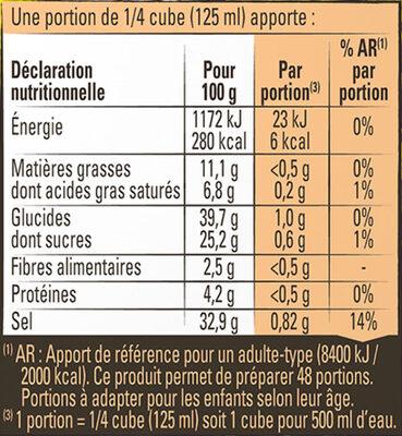 MAGGI Bouillon KUB Légumes Sel Réduit - Voedingswaarden - fr