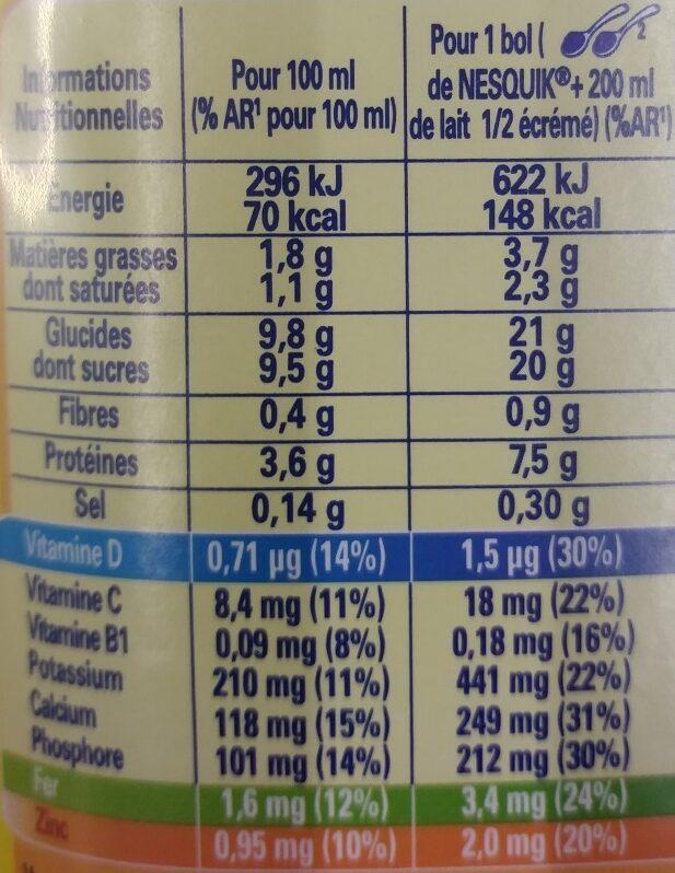 Nesquik - Nutrition facts - fr
