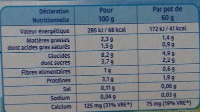 Nestlé p'tit onctueux - Nutrition facts