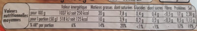 Allumettes nature - Nutrition facts - fr