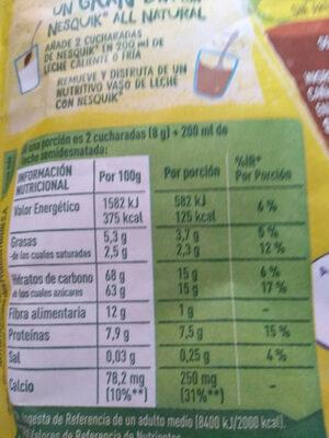 Nesquik all natural - Información nutricional - es