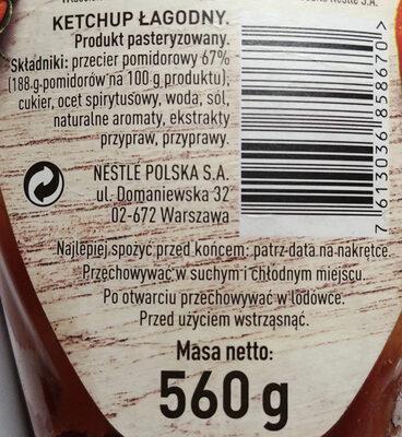 Ketchup łagodny - Ingrédients - pl