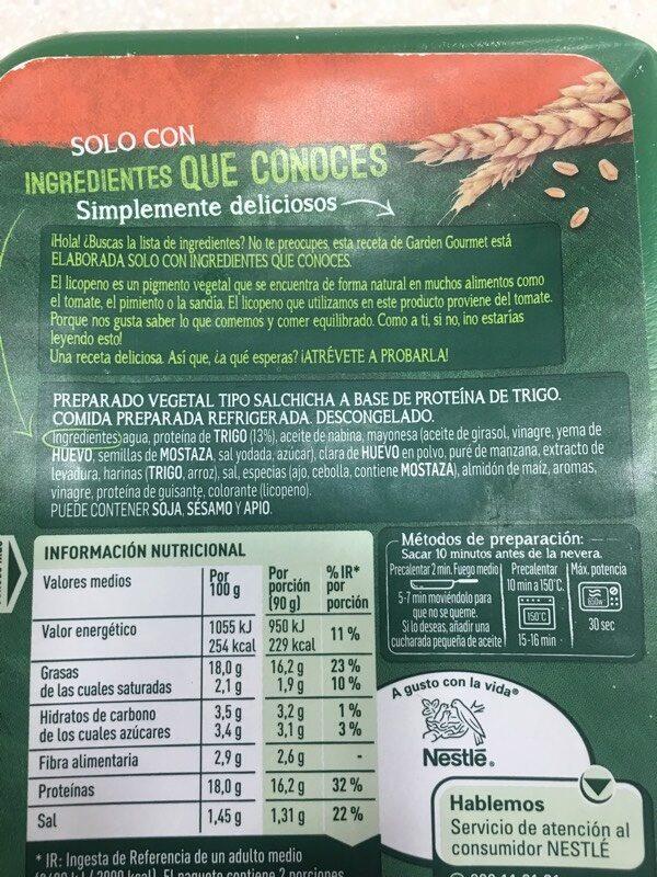 Salchichas Frankfurt vegetales - Ingrediënten - es