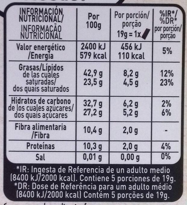 Raw chocolate negro de ecuador tostado suave - Información nutricional