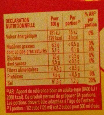 KUB OR bouillon - Voedingswaarden - fr