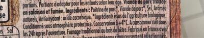 HERTA BIO Lardons allumettes fumés - Ingredienti - fr