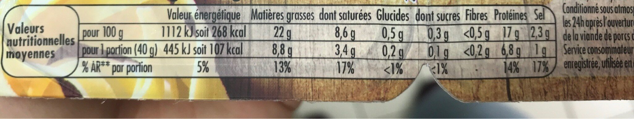 HERTA BIO Lardons allumettes fumés - Valori nutrizionali - fr