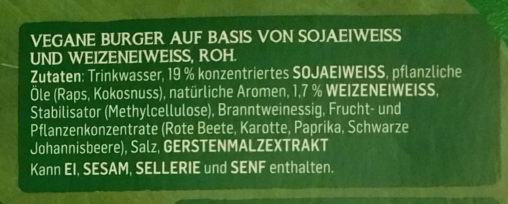 Incredible Burger aus Soja- und Weizeneiweiss, roh - Ingrédients - de