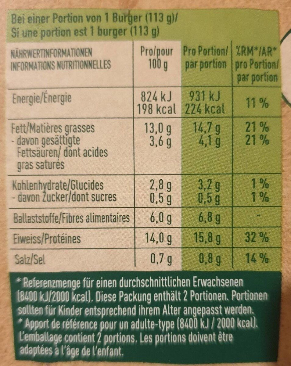 Sensational burger - Nutrition facts - de