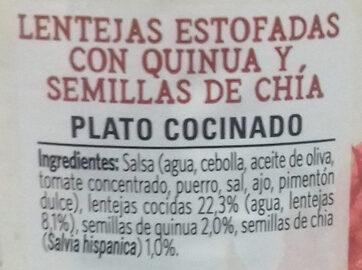 Vegetal lentejas con quinoa & chía - Ingrédients - es