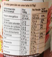 Vegetal lentejas con quinoa & chía - Informations nutritionnelles - es
