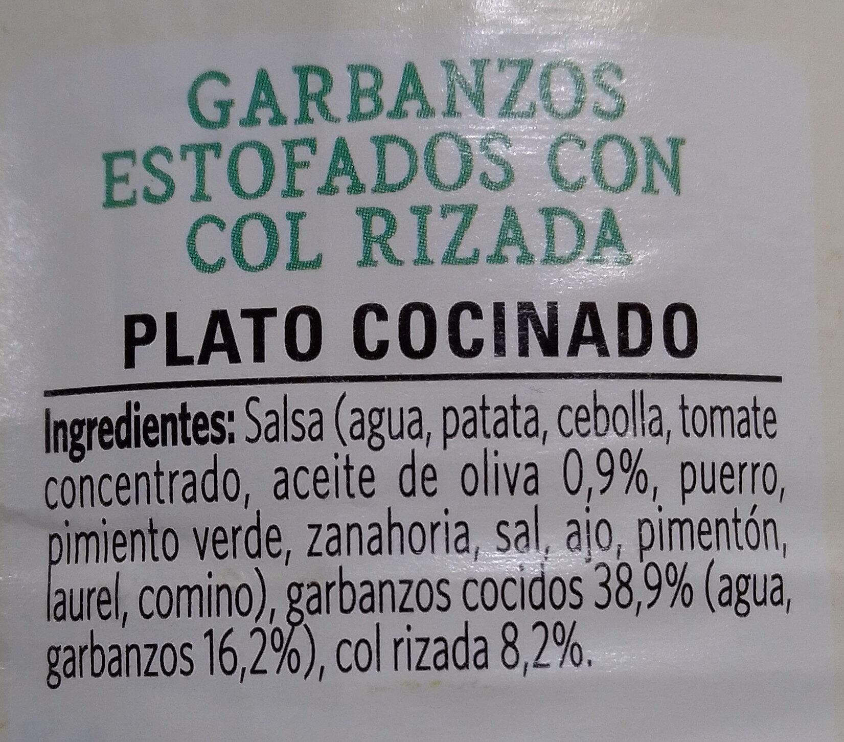 Garbanzos y kale - Ingredients - es