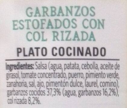 Vegetal garbanzos & kale - Ingrédients - es