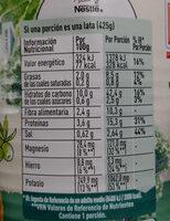 Garbanzos y kale - Informació nutricional - ca