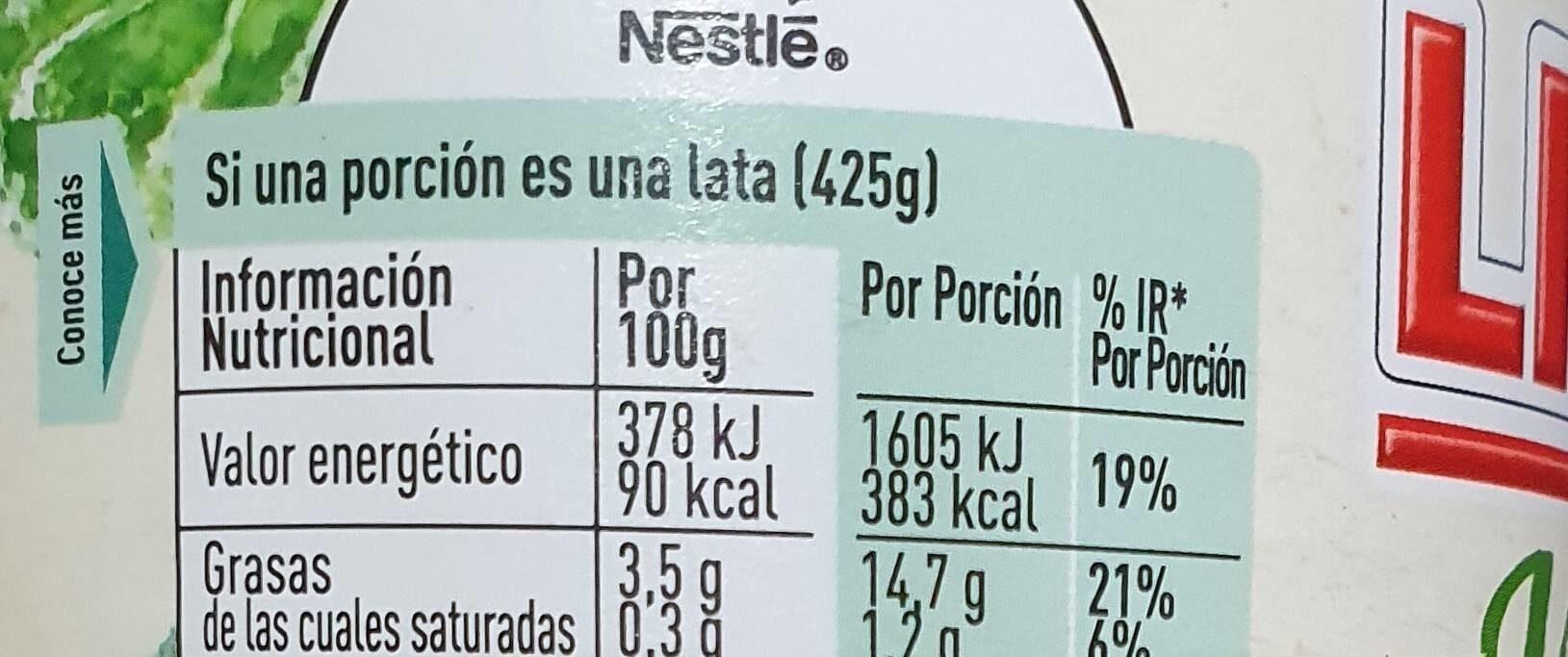 Vegetal garbanzos & kale - Informations nutritionnelles - es