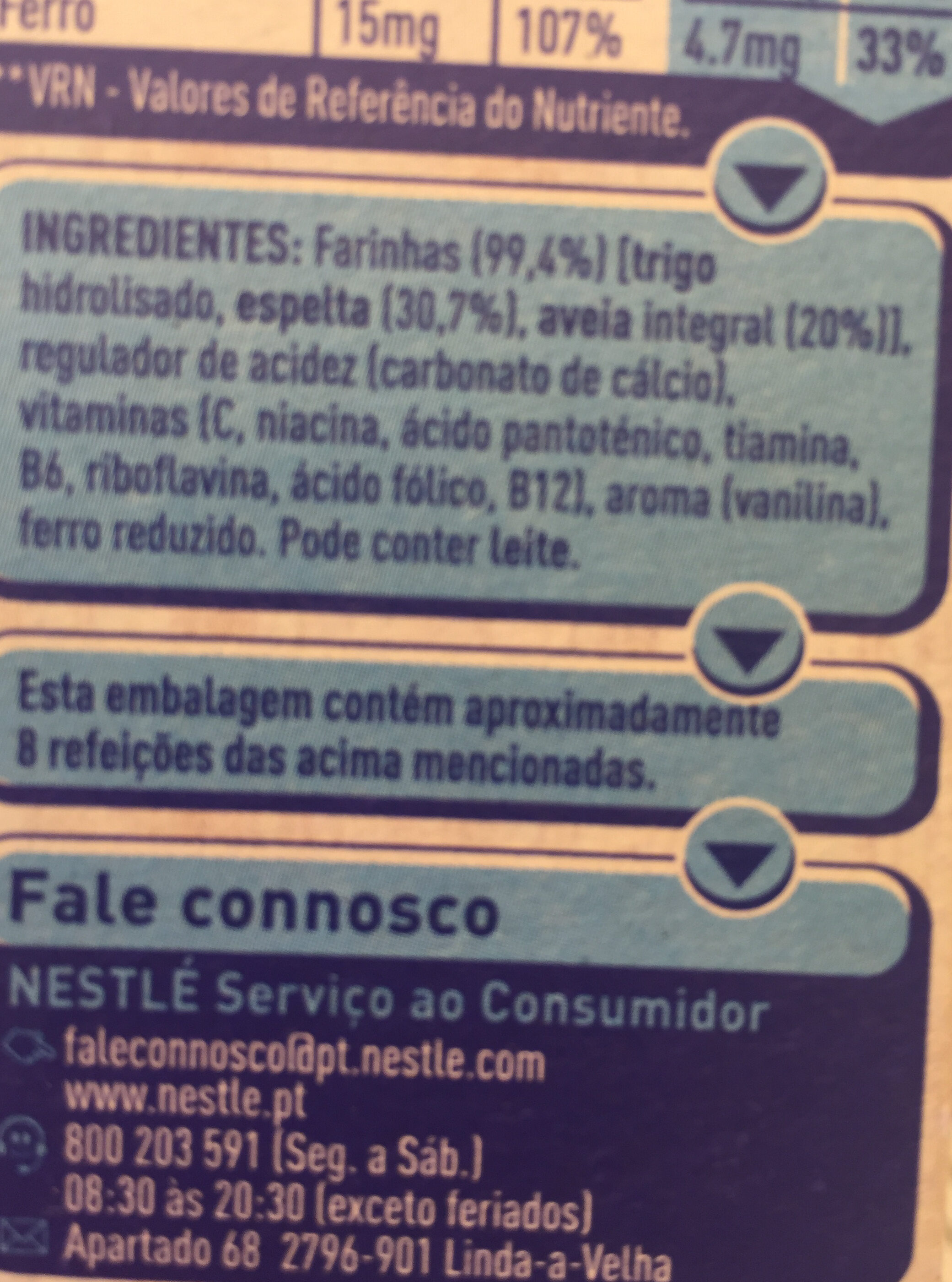 Nestum Zero - Ingrediënten - pt