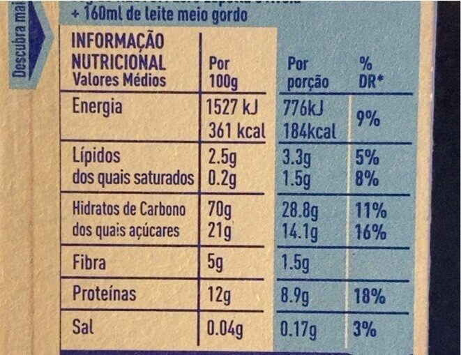 Nestum Zero - Voedingswaarden - pt