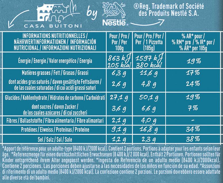 BUITONI PIZZETTA Tonno 2X185g - Valori nutrizionali - fr