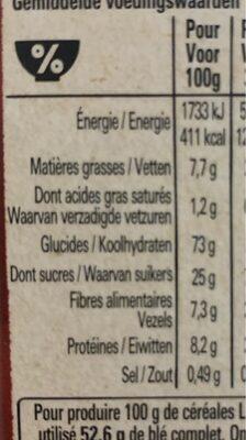 NESTLE LION Céréales caramel chocolat bio - Nutrition facts - fr