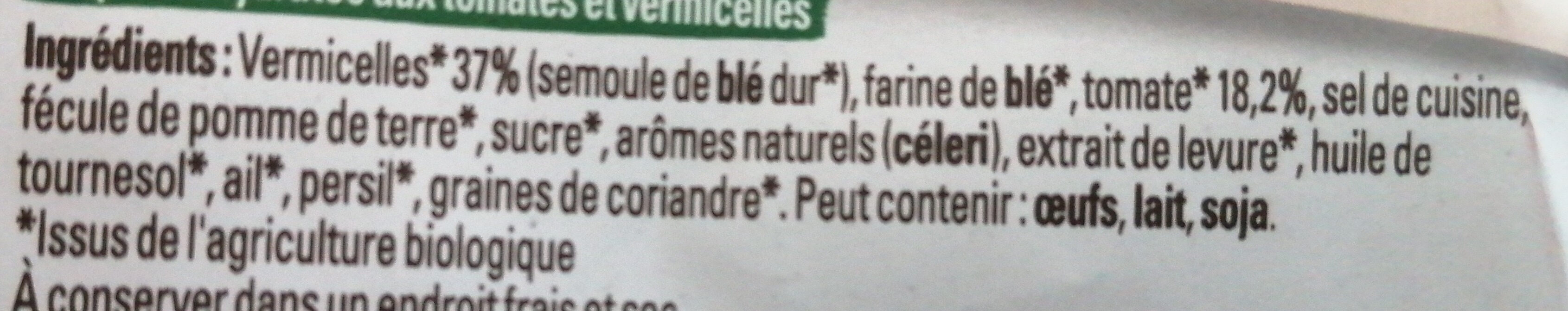 Bouillon Bio tomates et vermicelles - Ingredienti - fr