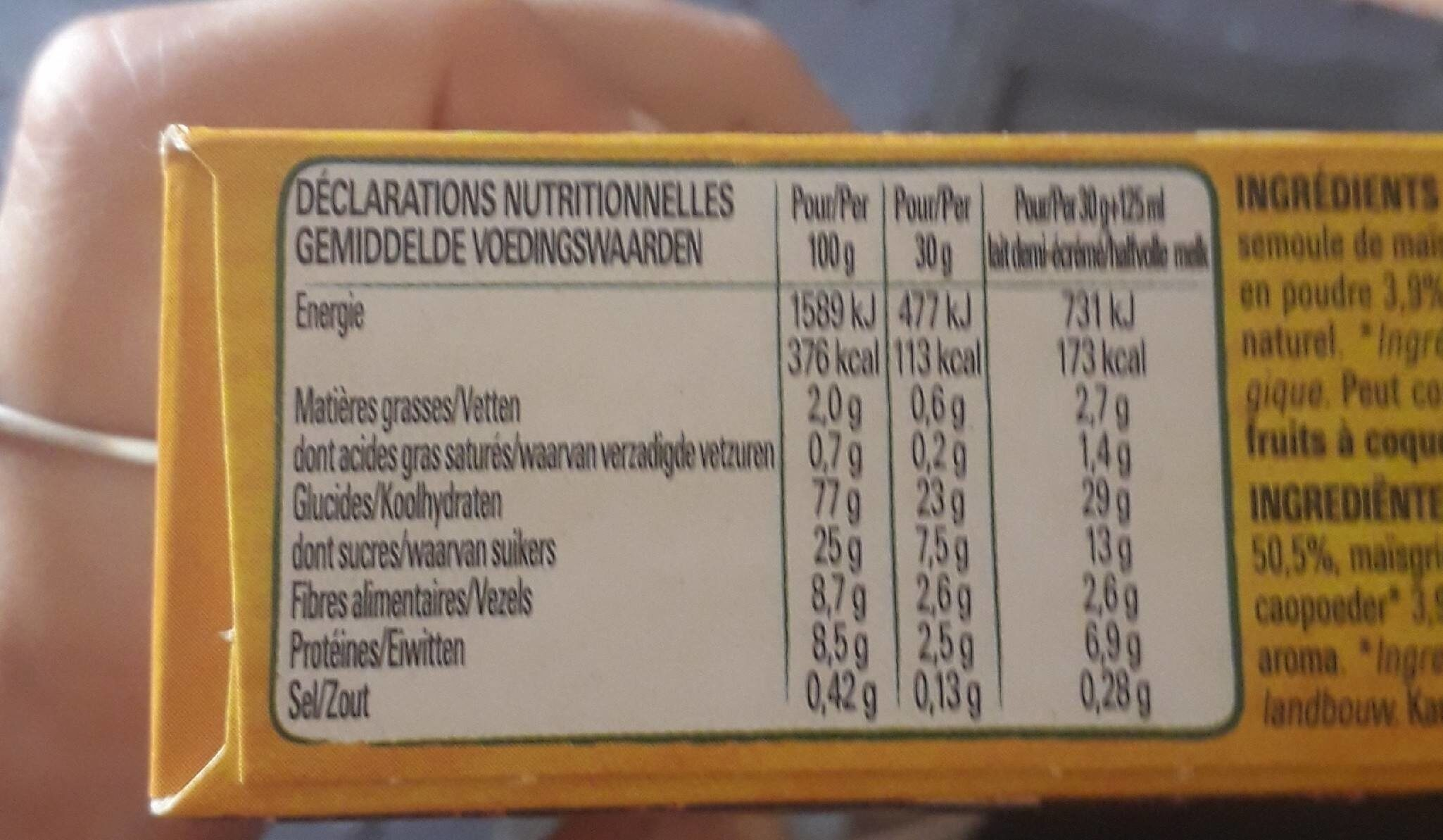 Cereales - Nutrition facts - fr