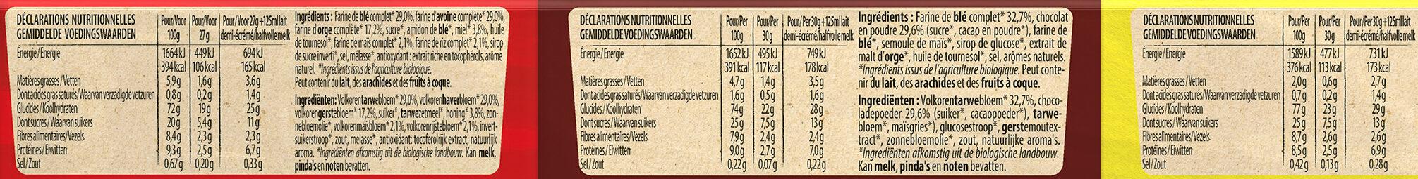 NESTLE MIX BIO céréales 4x30g + 2x27g - Informations nutritionnelles - fr