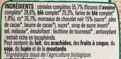 FITNESS BIO céréales avoine et chocolat - Ingredienti - fr