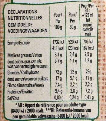 FITNESS BIO céréales avoine et chocolat - Valori nutrizionali - fr