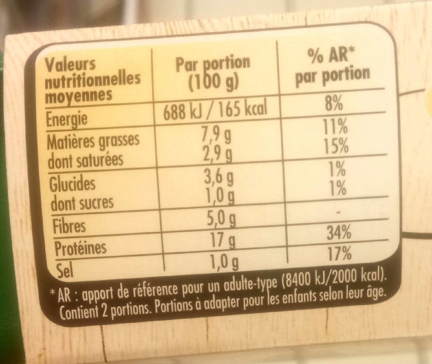 LE BON VEGETAL Haché Cru Soja à Cuisiner - Valori nutrizionali - fr