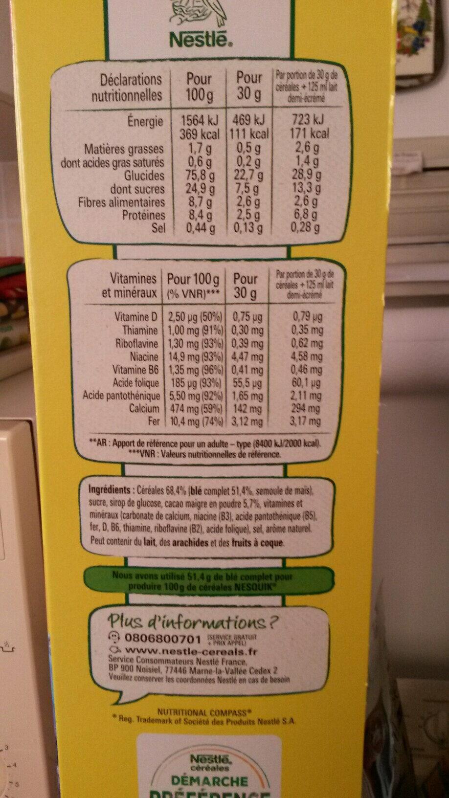 NESTLE NESQUIK Céréales Petit Déjeuner 950g PRIX CHOC - Ingredients - fr