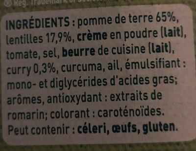 Purée de lentilles & curry doux - Ingrediënten - fr