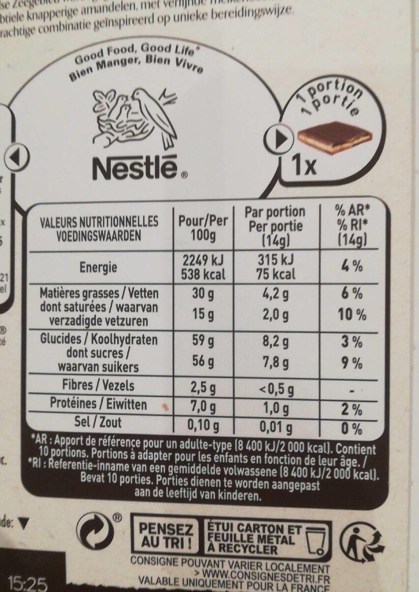 Chocolat au lait nougat - Nutrition facts - fr