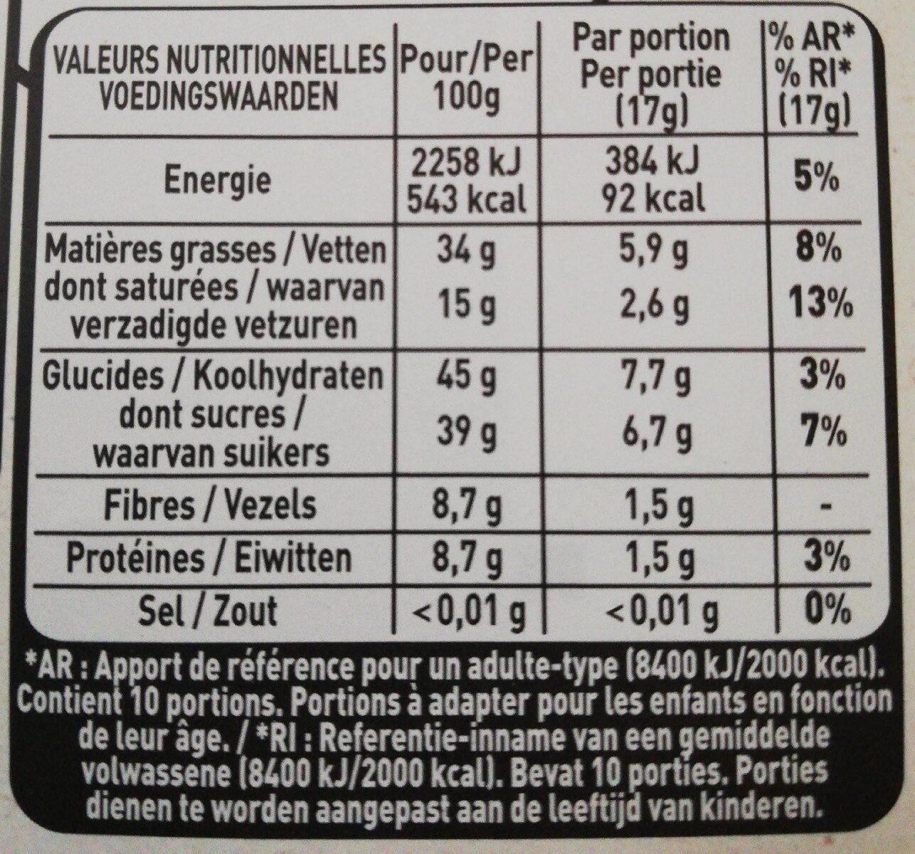 Myrtilles, Amandes & Noisettes - Valori nutrizionali - fr