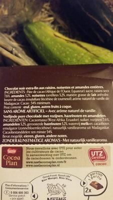 Chocolat raisins, amandes et noisettes Chocolat noir - Ingredients - fr