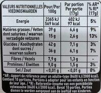 L'ATELIER chocolat noir noisettes - Valori nutrizionali - fr
