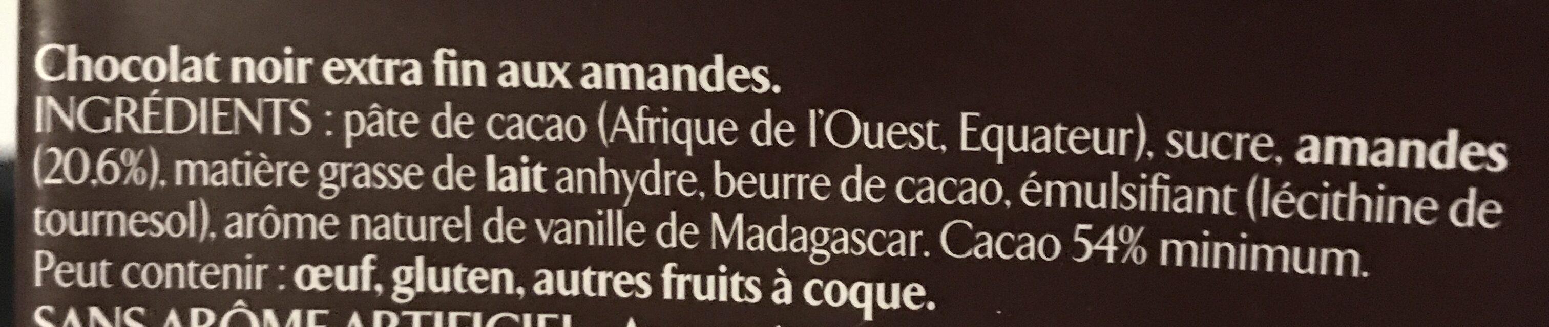 Amandes entières chocolat noir - Ingrédients - fr