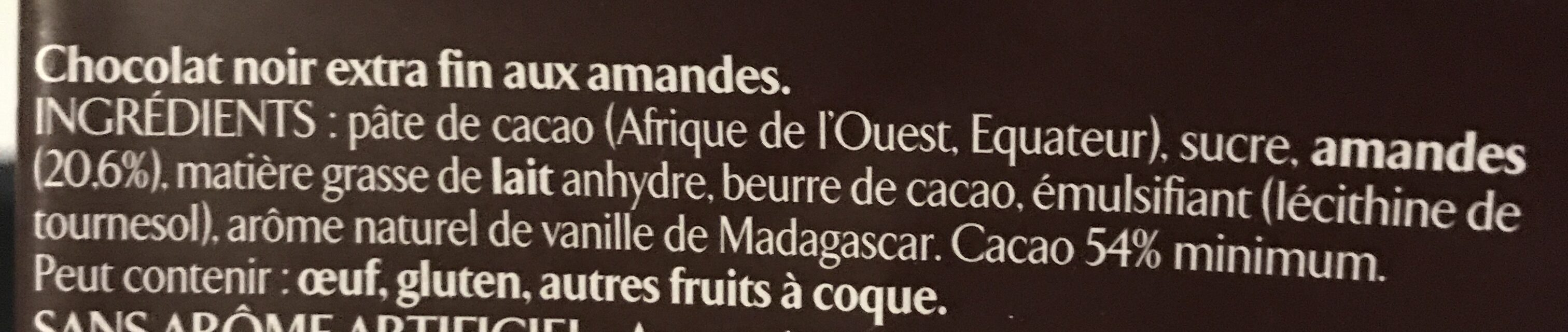Amandes entières chocolat noir - Ingredients - fr