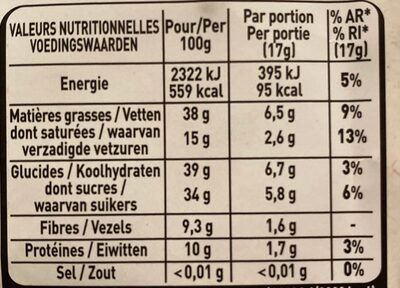 Amandes entières chocolat noir - Nutrition facts - fr