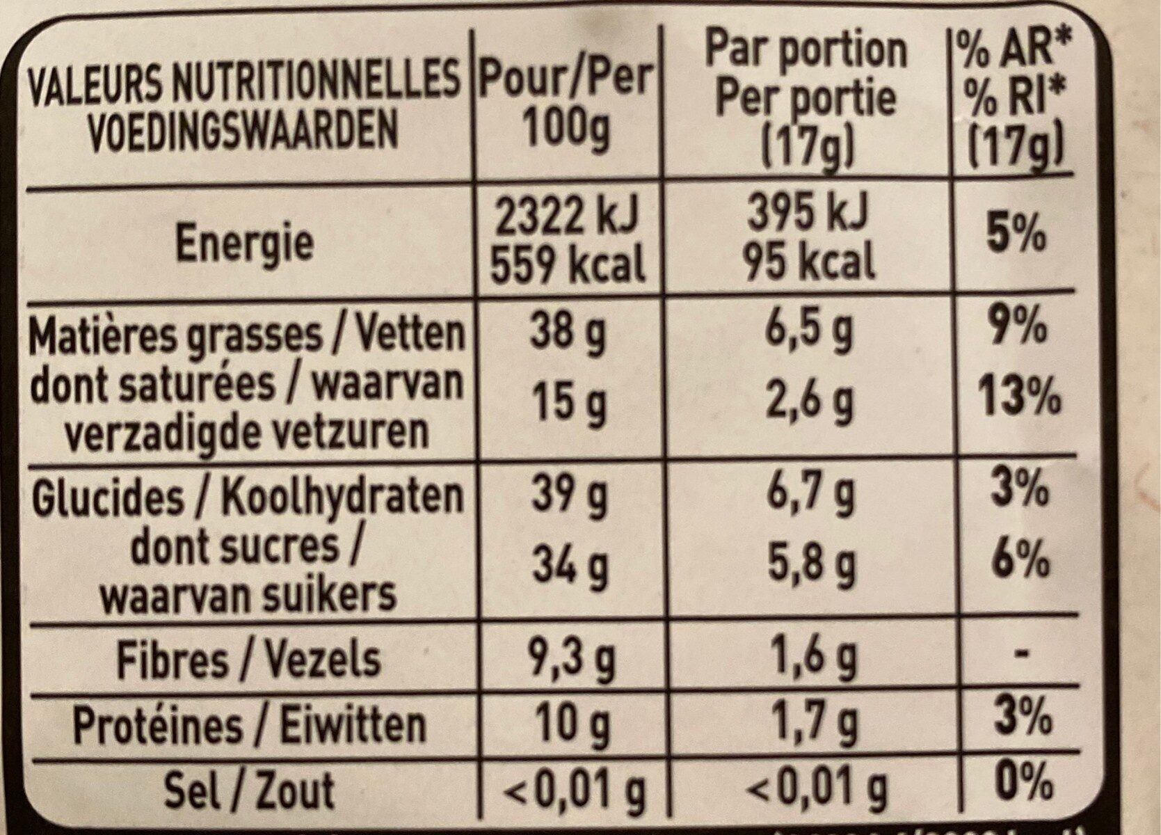 Amandes entières chocolat noir - Informations nutritionnelles - fr