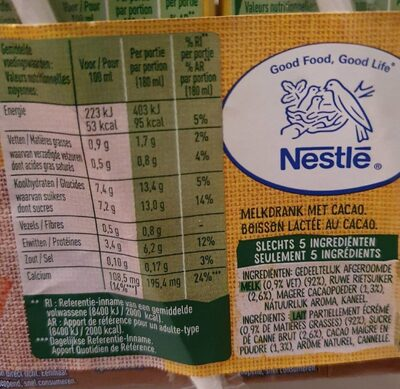 Nesquik All Natural Cacao - Nutrition facts - fr