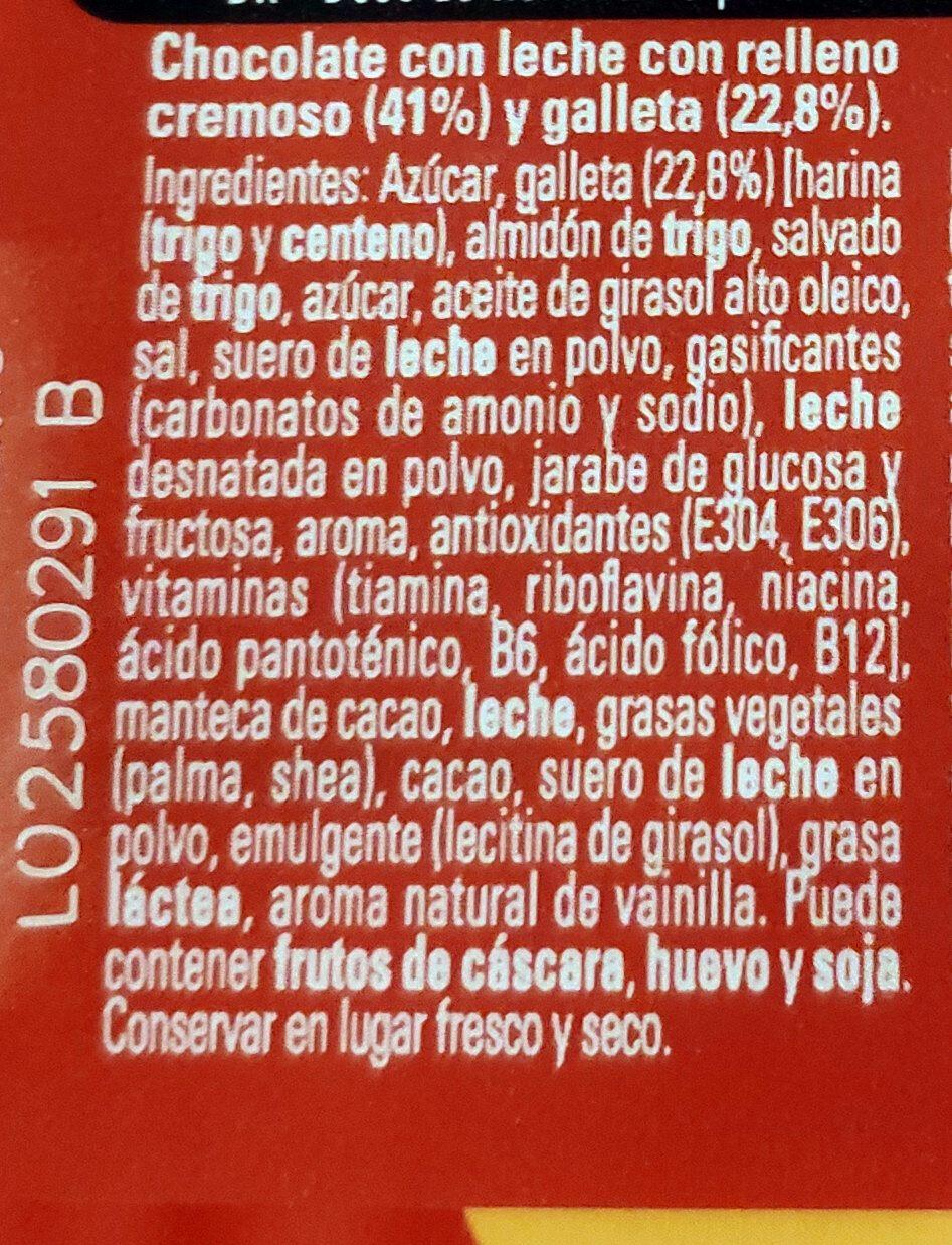 Extrafino con relleno cremoso y trocitos de galleta - Ingredientes - es