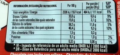 Extrafino con relleno cremoso y trocitos de galleta - Información nutricional - es