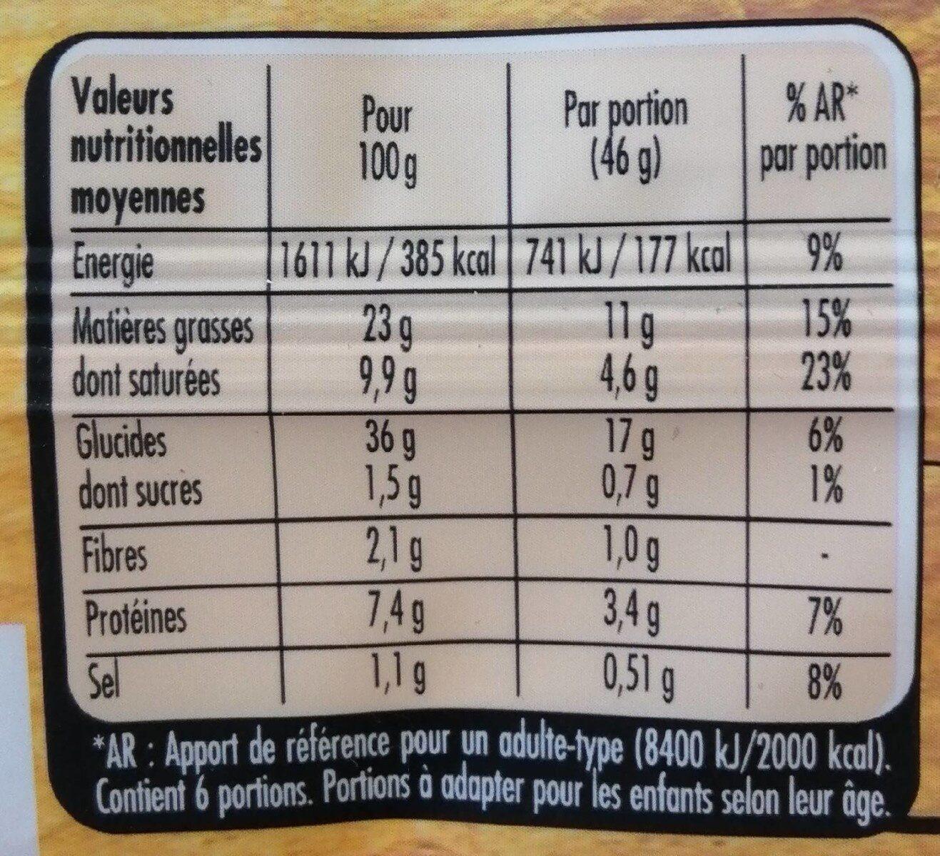 Trésor de grand mère feuilletée - Informations nutritionnelles - fr