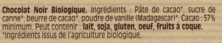 Noir BIO - Ingrédients - fr