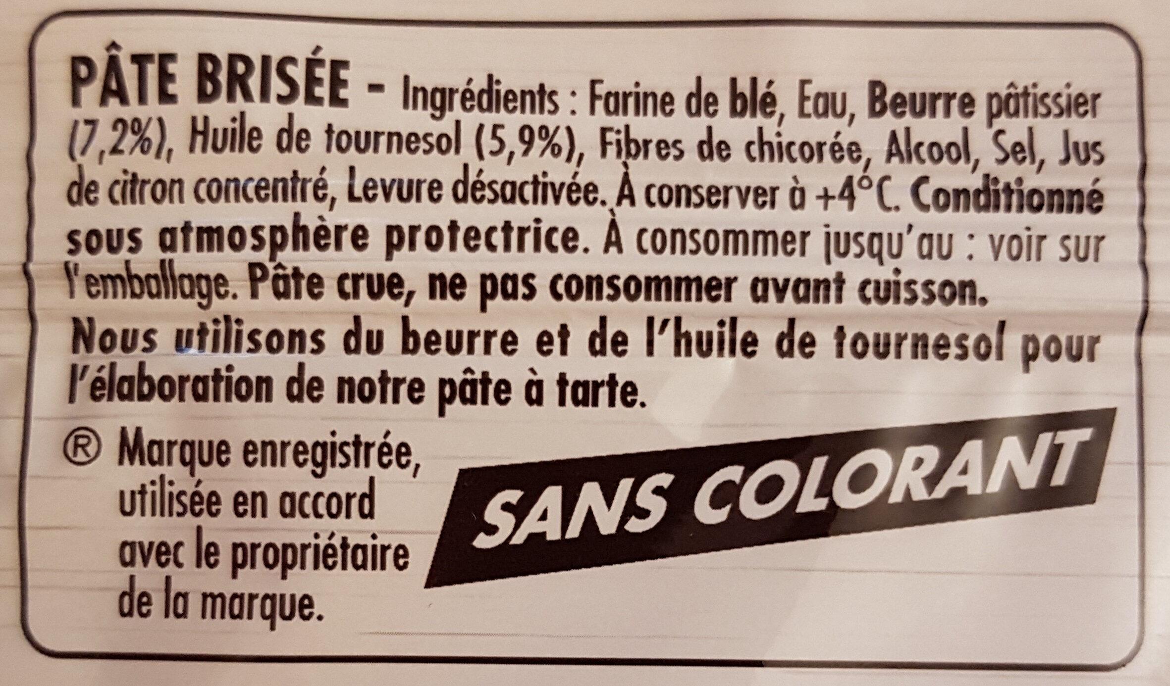 Pate Brisée sans additif - Ingrediënten - fr