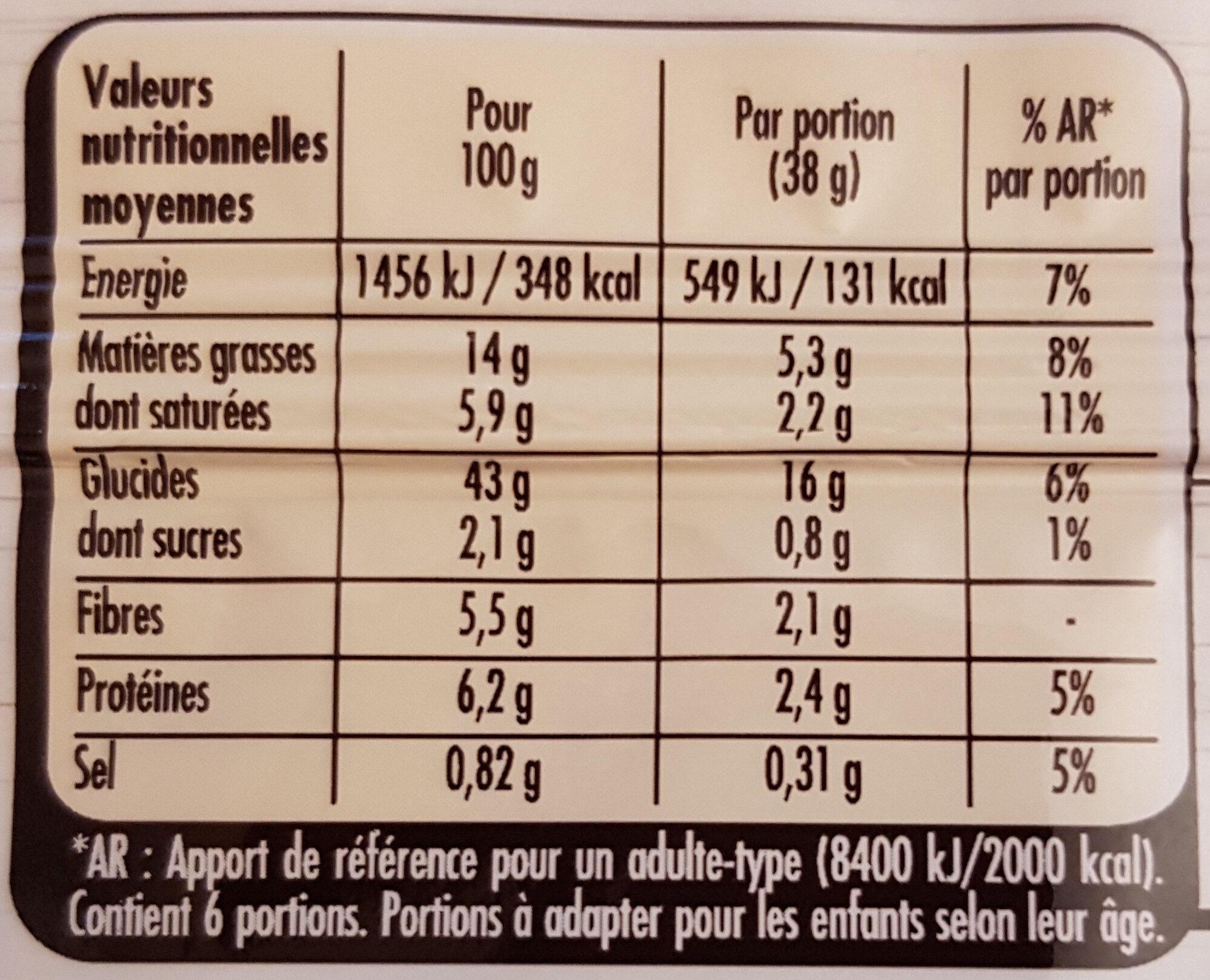 Pate Brisée sans additif - Voedingswaarden - fr