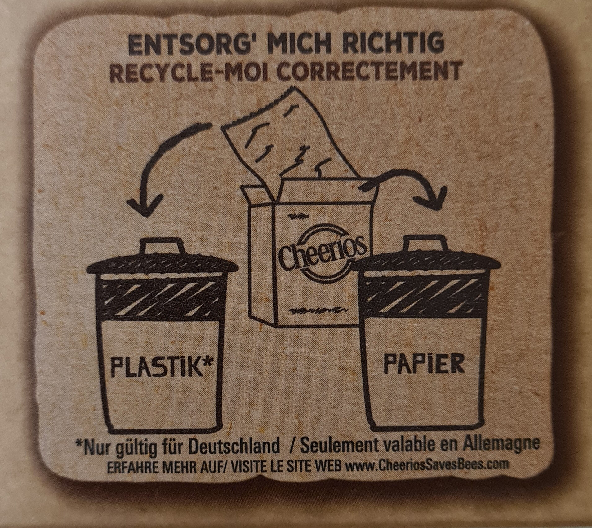 Cheerios - Recycling instructions and/or packaging information - de